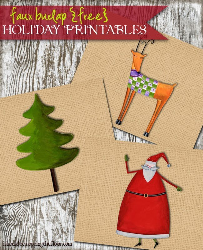 kleinworthco - Faux Burlap Free Holiday Printables