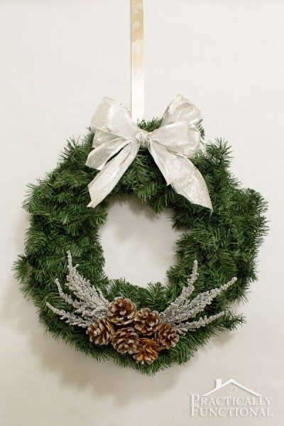 06 - Practically Functional - DIY Silver Pine Cone Wreath