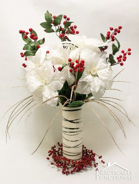 Practically Functional - DIY Elegant Winter Poinsettia Centerpiece