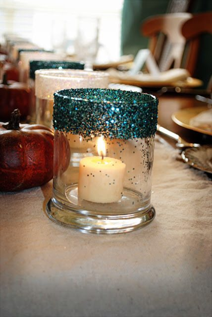 Should Be Mopping the Floor - Glittered Candle Holders