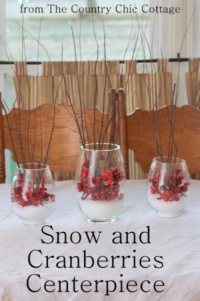 he Country Chich Cottage - Snow and Cranberry Centerpiece