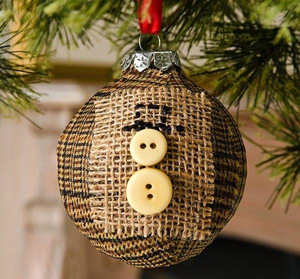 Mod Podge Rocks - Button Snowman Ornament