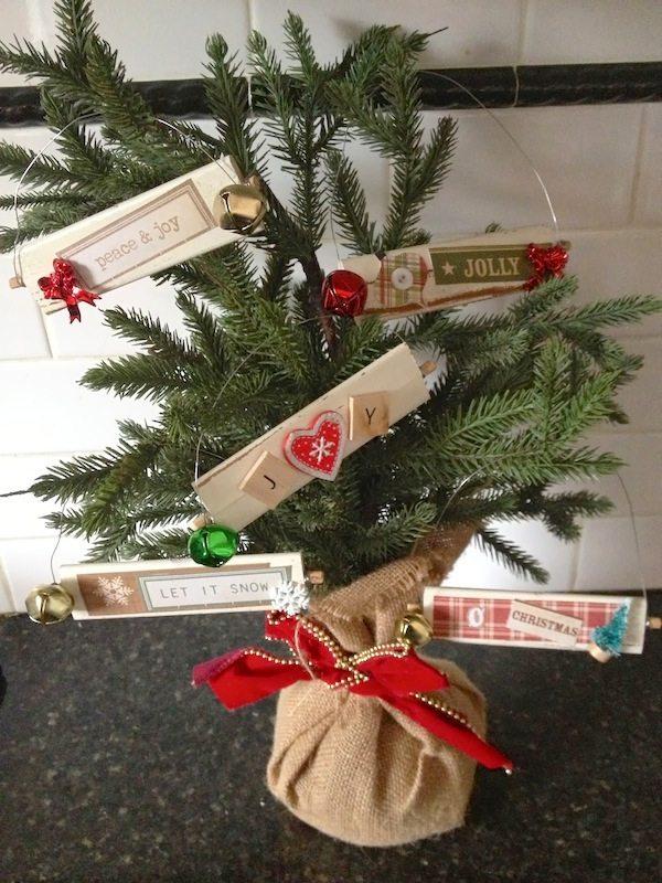Mod Podge Rocks - DIY Christmas Ornaments from Shutter Slats