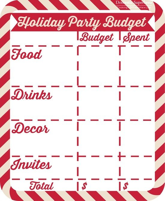 Domestic Superhero - Holiday-Party-Budget-Printable