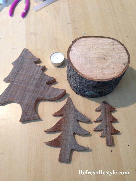 Barn wood trees glued to tree base