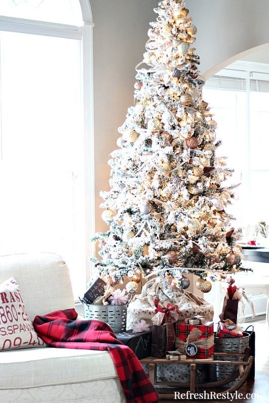 Christmas Flocked Tree with golds and silvers