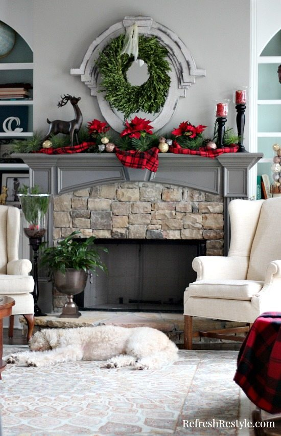 Christmas Tree Mantel Plaid Decor at refreshrestyle.com