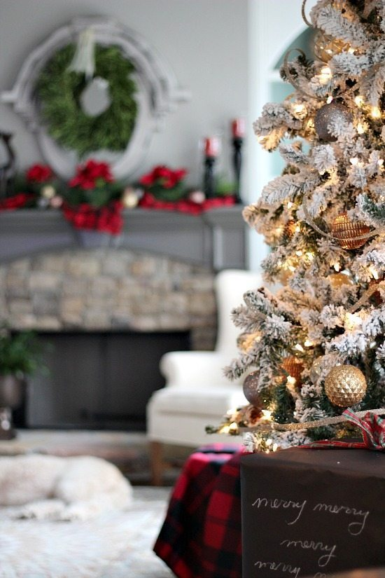 Christmas Tree with plaid, silver and gold see more at refreshrestyle.com