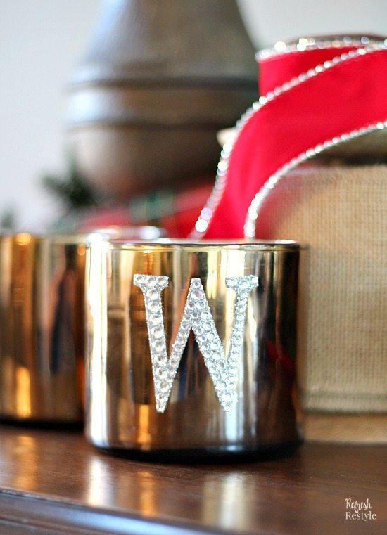 DIY Sparkle Monogrammed Candle
