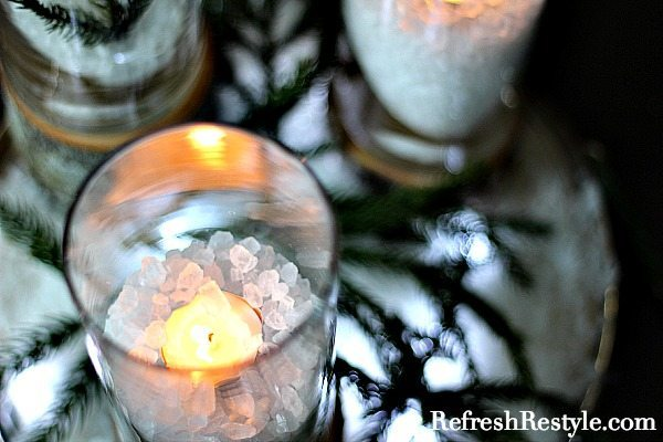 Dollar tree candle holder with rock salt