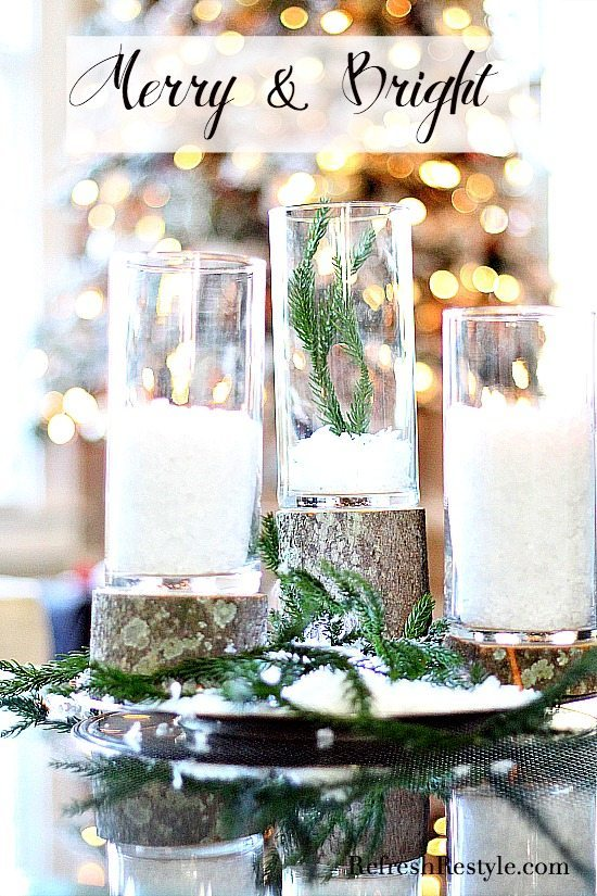 Dollar tree candle holders on top of logs