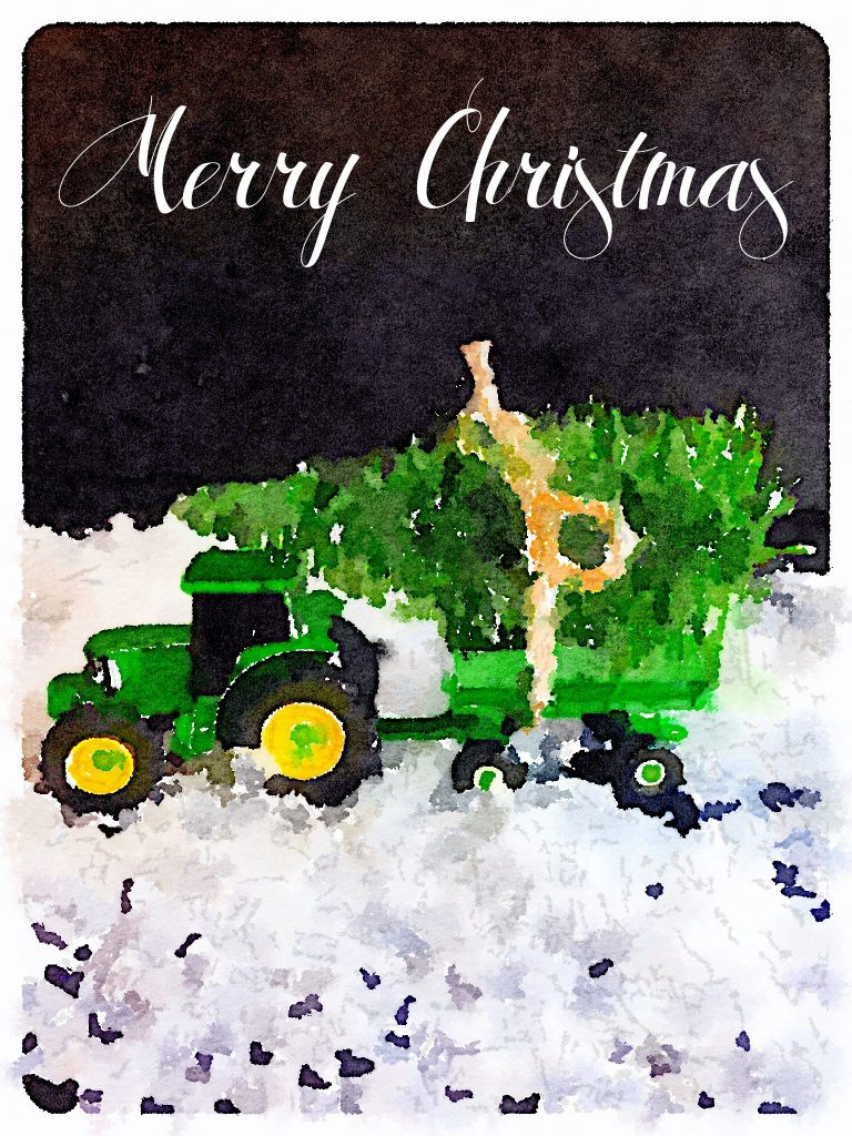 Tractor and Tree Merry Christmas