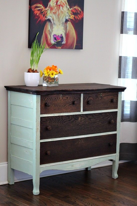 Dresser Makeover Kona and Creme de Menthe