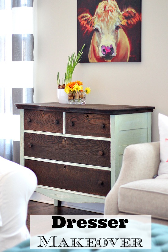 Dresser Makeover - paint and stain
