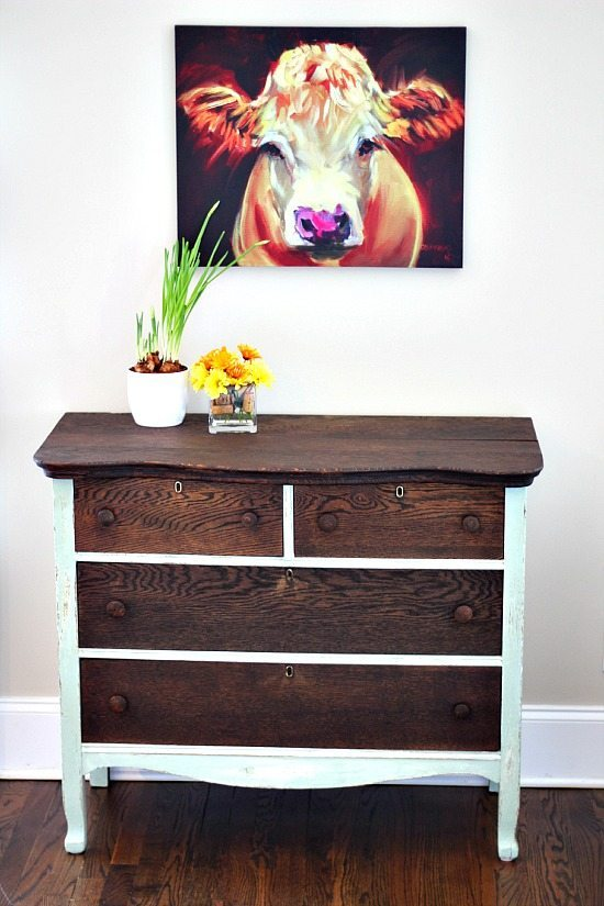 Dresser Makeover using chalk based paint and stain