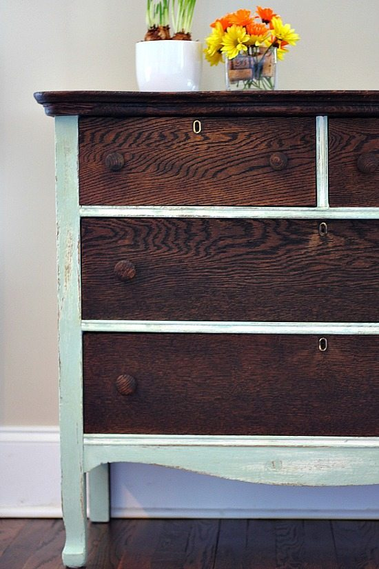 Dresser Makeover with Kona stain and Creme de Menthe chalk based paint