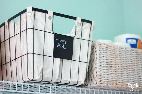Laundry Room Storage baskets and lined wire baskets