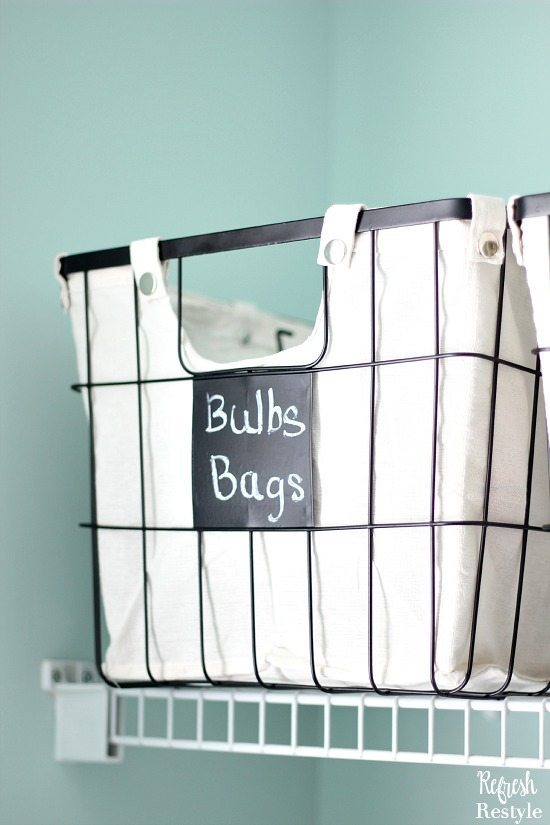 Laundry Room Storage with Wire Baskets Chalkboard Tags