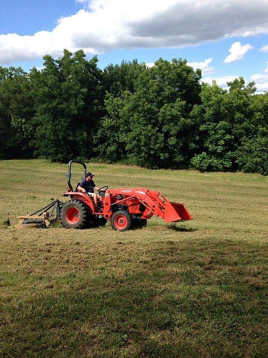 Barry cutting grass