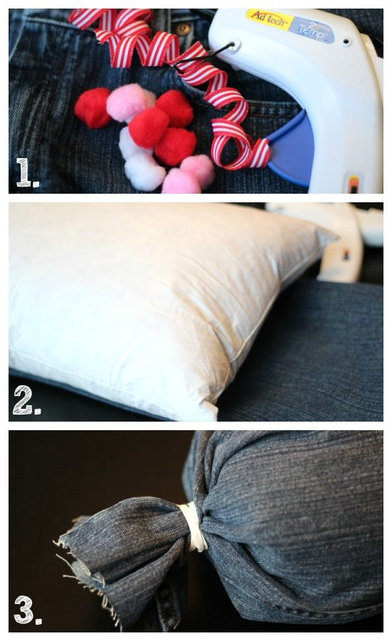 No sew pillow - recycled denim