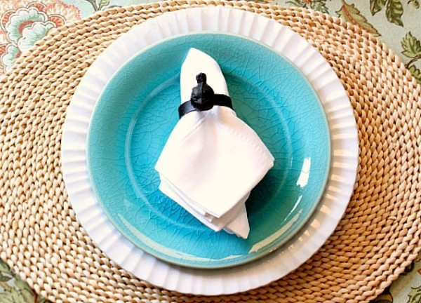 Everyday white dishes with aqua salad plate