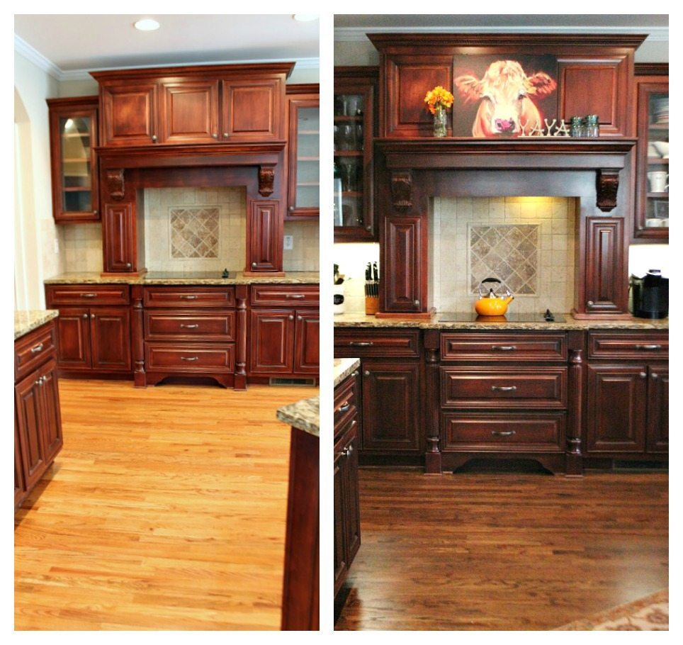 Before and After dark stain on the kitchen floors.