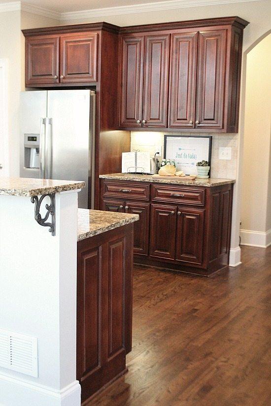 Kitchen with dark floors.