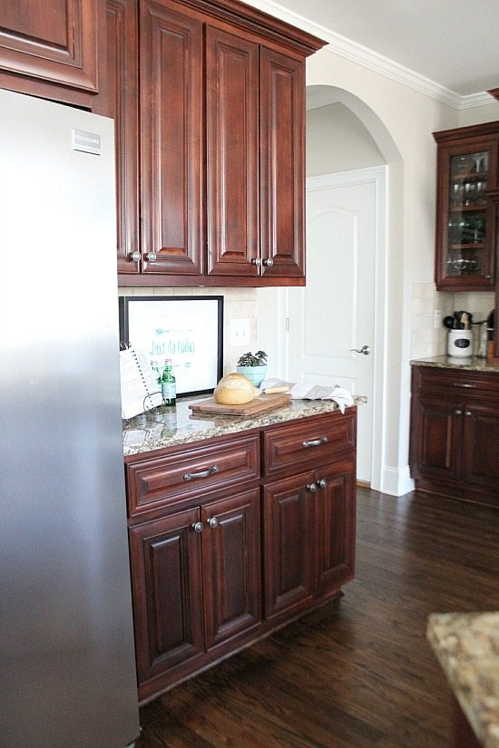 Dark cabinets and floor.