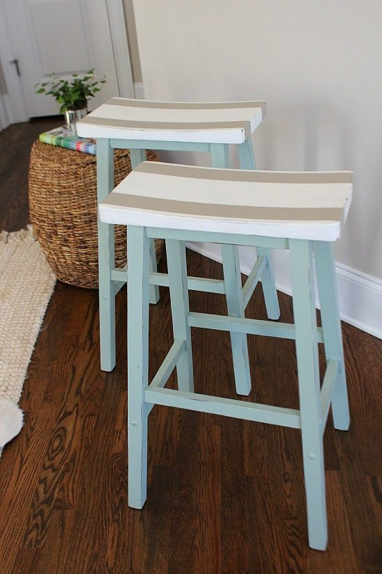 Fun painted bar stools for a keeping room breakfast bar.