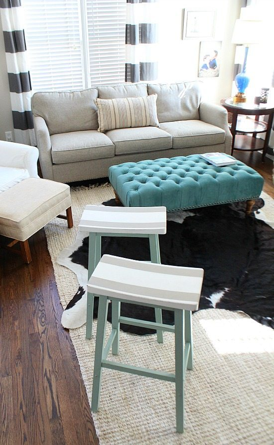 Painted bar stools to compliment the keeping room