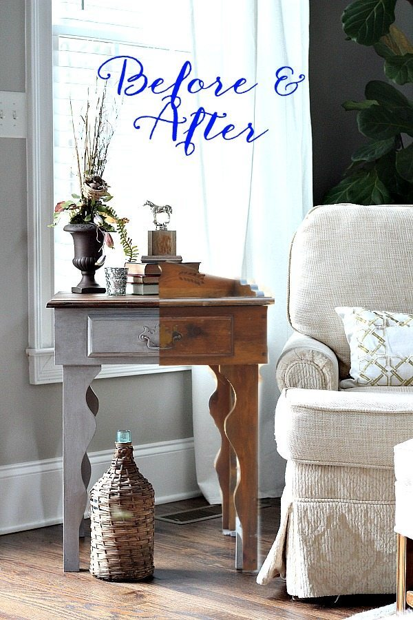 Before and After Side table Maison Blanche - Pecan and waxed with White Chalk Lime Wax