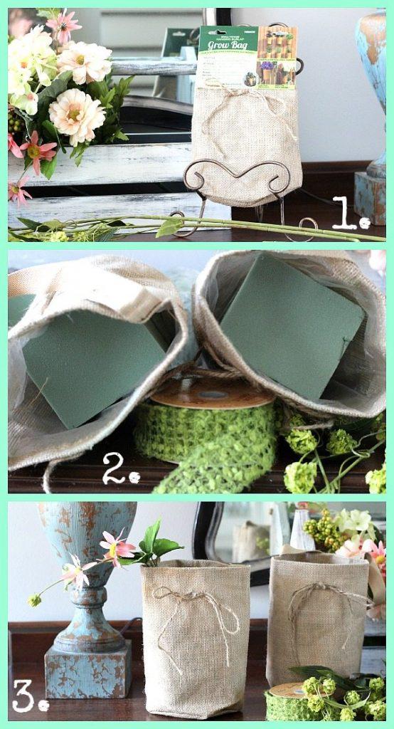 How to create a flower arrangement in an burlap bag
