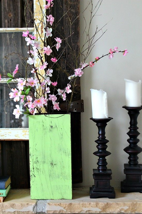 Pink blossoms on the mantel at Refresh Restyle