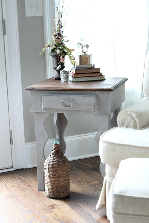 Curvy side table makeover Maison Blanche - Pecan and waxed with White Chalk Lime Wax