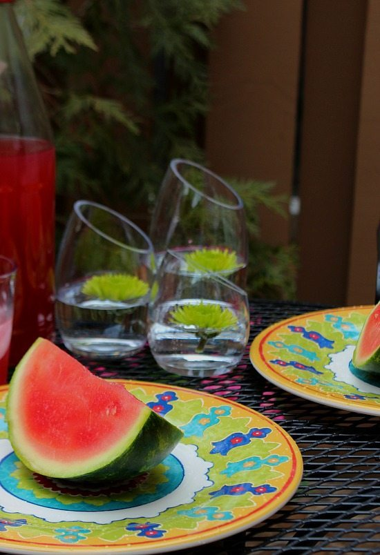 Spring dining on the patio, colorful dinnerware.