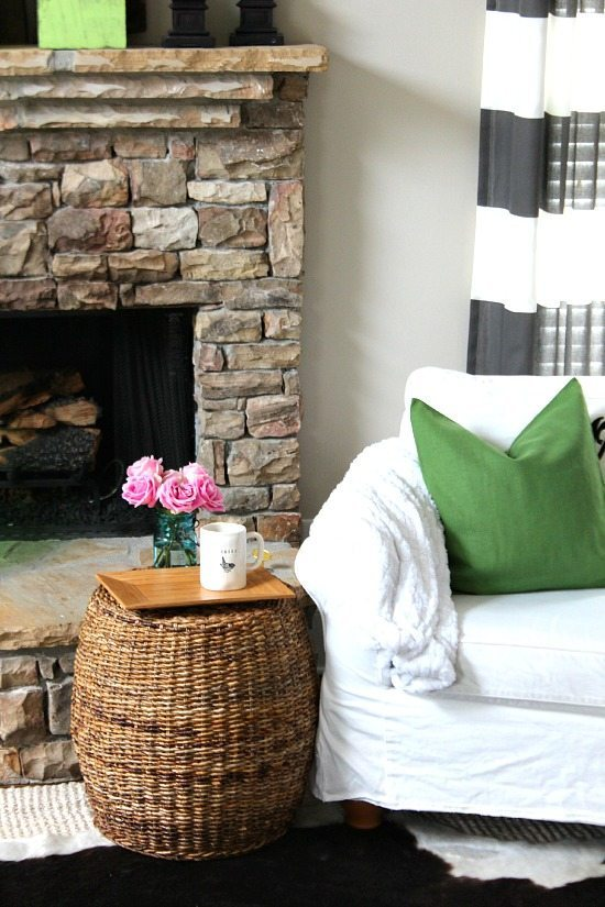 Spring pink and green family room
