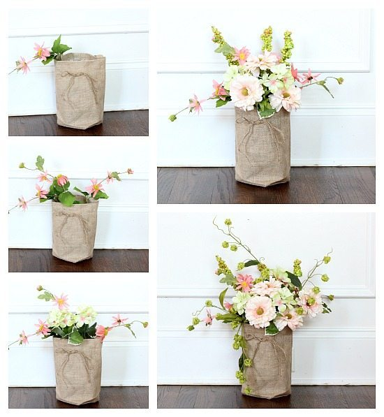 Step by step instructions for flowers in a burlap bag