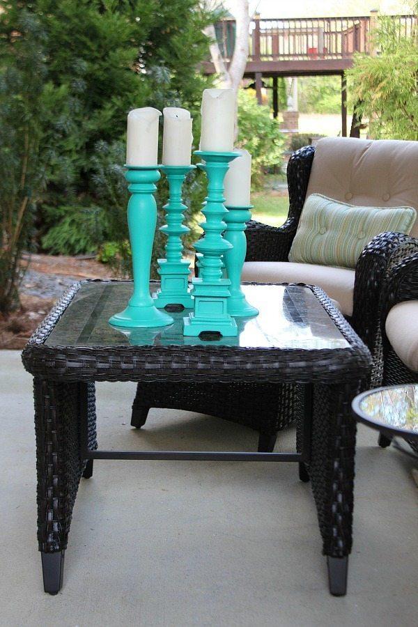 Center piece of tall aqua candle sticks
