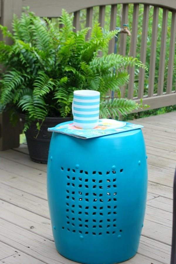 Ceramic stool - thrifted and spray painted for summer deck
