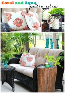 Coral and Aqua patio decor ideas, great color combo