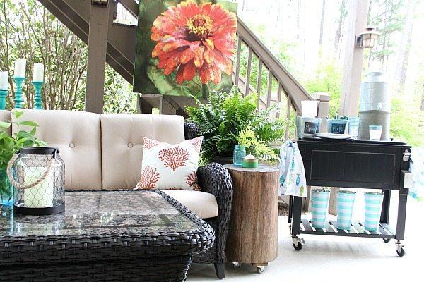 Coral and Aqua - teal patio ideas