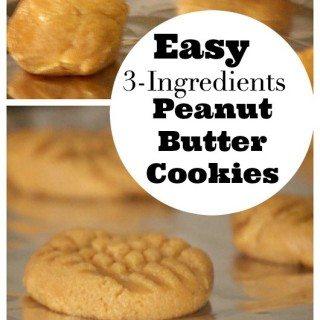 Easy 3 Ingredients Peanut Butter Cookies Recipe
