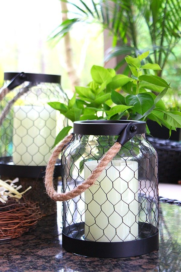 Inexpensive chicken wire candle holders