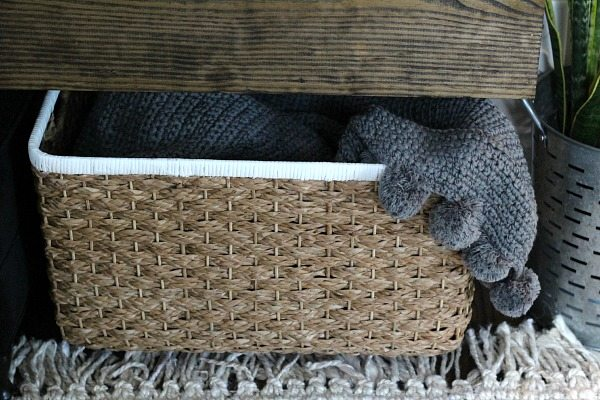 Large basket for Pottery Barn pompom throw
