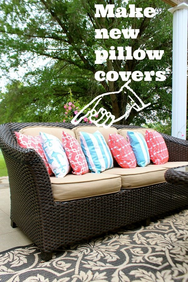 Use outdoor fabric to create a colorful pillow collection