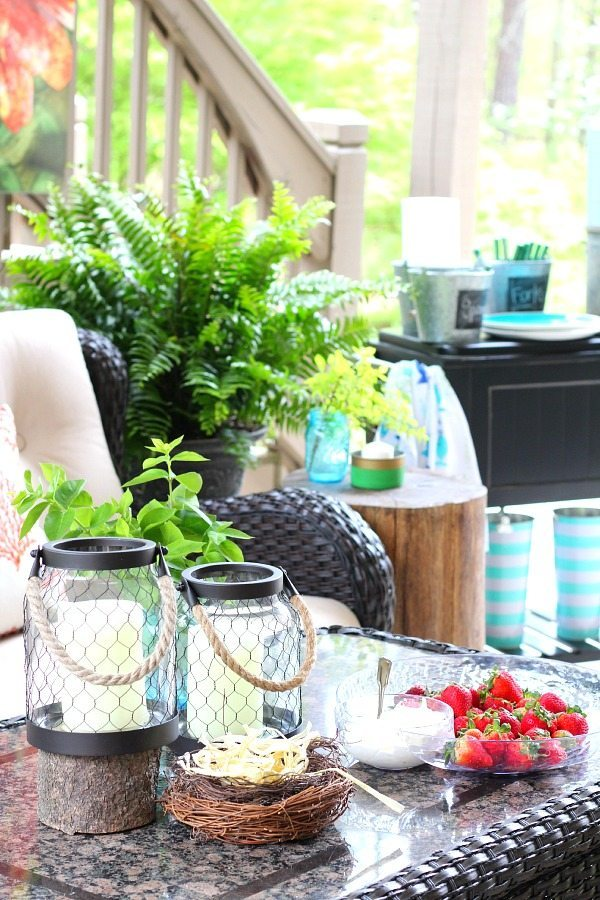 Coral and aqua patio decor and a recipe refresh restyle for Patio accessories ideas