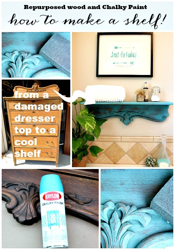 How to make a shelf from repurposed wood, Repurposed Shelf with Krylon Chalky Spray Paint