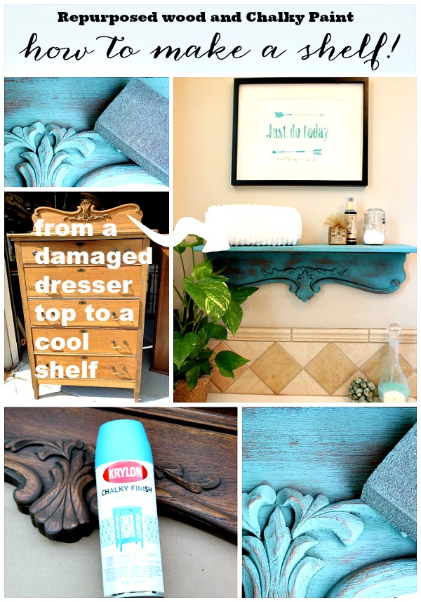 Repurposed shelf with krylon chalky spray paint refresh for Shelf life of paint