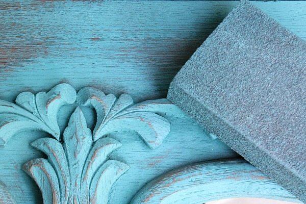 How to sand Krylon spray chalky paint, Repurposed Shelf with Krylon Chalky Spray Paint
