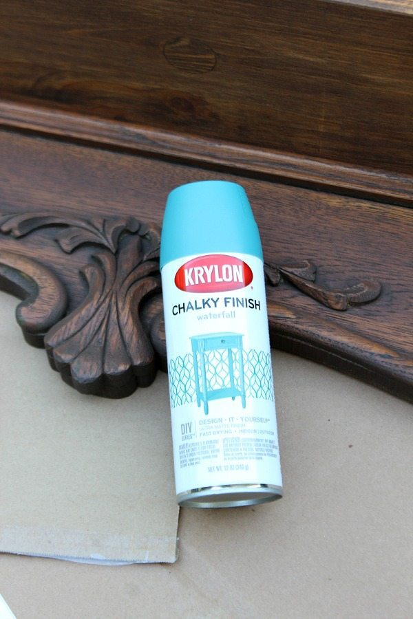 Krylon Chalky Finish spray paint in waterfall, Repurposed Shelf with Krylon Chalky Spray Paint